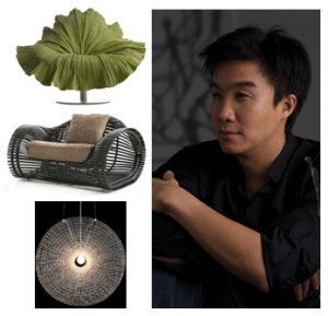 Kenneth Cobonpue and his award winning designs (T-B: Bloom Chair, Lolah Easy Armchair and Halo Lamp)